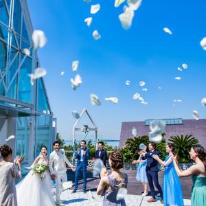 【クリスタルチャペル】併設されたウッドデッキでのアフターセレモニー。真っ青な空にフラワーシャワーがよく映えます♪|シェラトン・グランデ・トーキョーベイ・ホテルの写真(9193253)