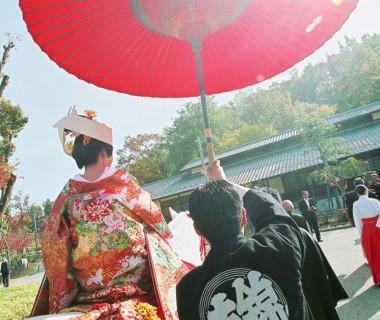 日本昭和村での花嫁行列