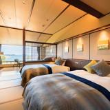 ホテル上階に位置する「眺望和ツイン洗心」 他の客室も全室オーシャンビューで、松島ならではの景色をご堪能いただけます。