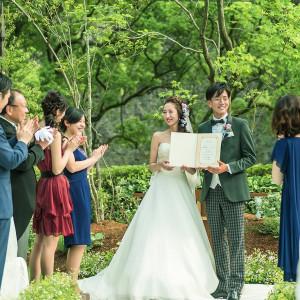 緑に囲まれたガーデン~ふたりの大切なゲストが見守るなか永遠の愛を誓う|KKRホテル熊本の写真(1842890)