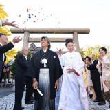 和の演出 「折鶴シャワー」でゲストからの祝福