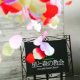 挙式の後のアフターセレモニーの定番「フラワーシャワー」緑に囲まれたここでは色とりどりの花が映えます