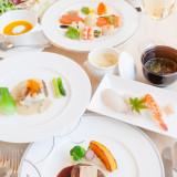 婚礼料理フルコースイメージ。お二人やゲストの要望に合わせて、色んなメニューをご準備できます。