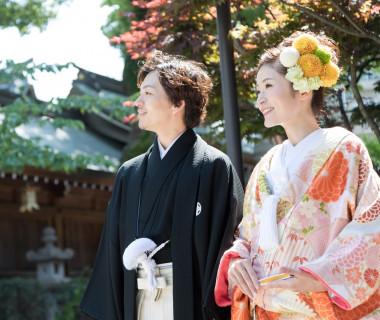 神社挙式前に記念写真撮影♪(櫛田神社)