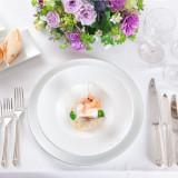 鯛のホーピエット 天使の海老を添えて 貝類のソースとレモングラスソースのアクセント