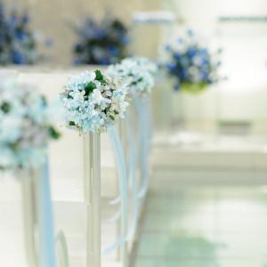 サムシングブルーは、結婚式で花嫁が「何か青いもの」を身につけると幸せになれると伝えられています♡ ホテルグランドプラザ浦島の写真(4396673)
