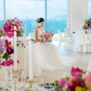 【憧れの花嫁体験♪】JUNOドレス試着&海上の大聖堂見学★絶景試食付き