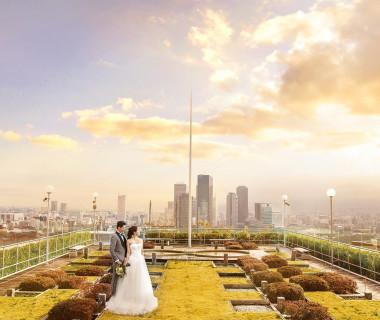 屋上ガーデンを使っての一枚は壮大な景色をバックに圧巻のお写真を残せます