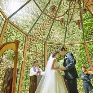 森のチャペルで花嫁体験!感動挙式とドレス試着×フルコース試食