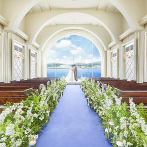 青い海が広がるガラス張りのチャペル|ベイサイド迎賓館(長崎)の写真(6410307)