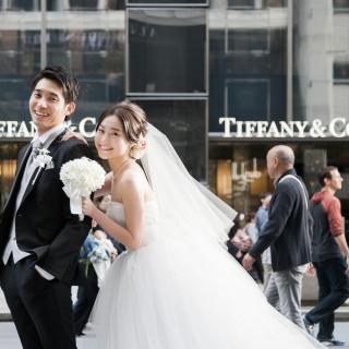 《東京駅や銀座エリアでの撮影を記念に》人気のロケーション撮影を結婚式当日にサービス!