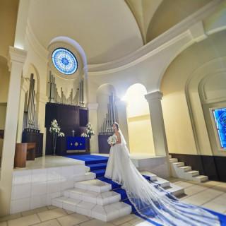【純白ドレスを美しく魅せる】ロイヤルブルーの挙式体験
