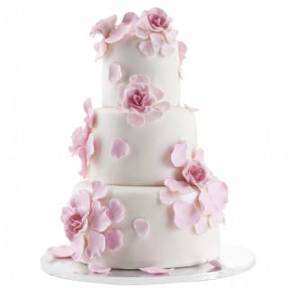 ピンクのウェディングケーキ