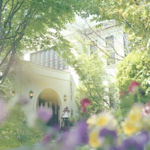 玄関へと続く小道には、季節の花々がまるでふたりを祝福するように美しく咲き誇ります。お越しいただくたびに表情の変わるフェリスクレールをご覧ください|felizcreer(フェリスクレール)の写真(709147)