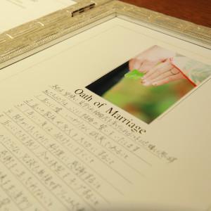 誓いの言葉はおふたりのオリジナル。藤屋独自の結婚証明書に言葉を記して|藤屋御本陣(THE FUJIYA GOHONJIN)の写真(5637027)