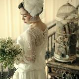 大正ロマンをイメージ。レースのドレスに、ヘアード、鳥かごのブーケなど自由自在!