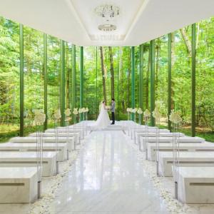 【全面ガラス張り】軽井沢の森に囲まれた幻想的なチャペルで一生の想い出に残るご結婚式を!|アネーリ軽井沢の写真(1379280)