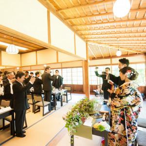 日本酒で乾杯!|三渓園 鶴翔閣(横浜市指定有形文化財)の写真(1284820)