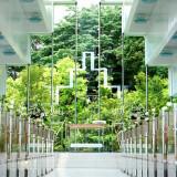聖壇の先には緑が広がり、陽光が差し込み明るいセレモニーが叶う「森のチャペル」