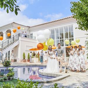 人気のガーデンウェディング☆新郎新婦様のおふたりも、ゲストの方もステキな想い出が残る結婚式になること間違いなし☆|キャナルサイド ララシャンスの写真(1666653)