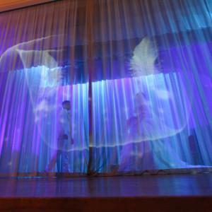 ステージからの入場で、お二人のシルエットが素敵に♪|ロワジールホテル那覇の写真(1024138)
