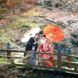 和服と和傘で雰囲気バッチリ!