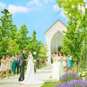 並木道で大好きなゲストの方々に囲まれながら、お二人ならではの結婚式が行えます|ララシャンスベルアミー 盛岡の写真(1055318)