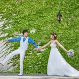緑と純白のドレスのコントラストが際立ちます