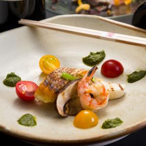 真鯛のグリル 松茸と車海老添え ジェノバソース 藤右ェ門の写真(597819)