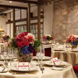 古九谷というアンティークの色味ある九谷焼きをフラワーベースに テーブルごとに柄が違う表情を持つ総花には、その個性を大切にしたいと考えたデザインを
