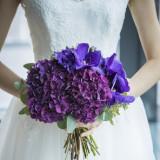 パンダ・紫陽花を使ったブーケ。紫陽花の花言葉は「あなたについてきます」。