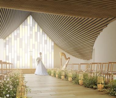 自然光と芸術の美でつくられた教会。誰も見たことがない美しさを ※完成予想図#グランドオープン #ウエディング #結婚式 #ステンドグラス #隈 研吾