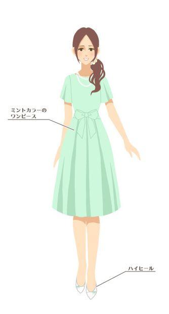 """977b3677172f0 1.5次会や二次会は、""""平服""""と呼ばれる略礼装でOK。上品なワンピースやパンツスーツにハイヒールをあわせたコーディネートが一般的です。挙式披露宴よりはカジュアルな  ..."""