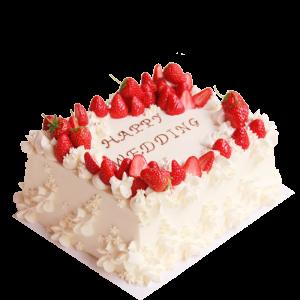 クリームのフリル小花が可愛い!クラシックないちごウエディングケーキ