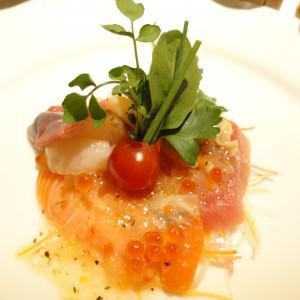 こちらもお魚料理。生ですね。貝も入ってます!|166052さんのホテルキャッスル(山形)の写真(213527)