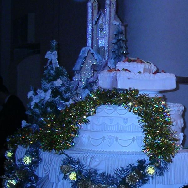 クリスマス風なウエディングケーキ