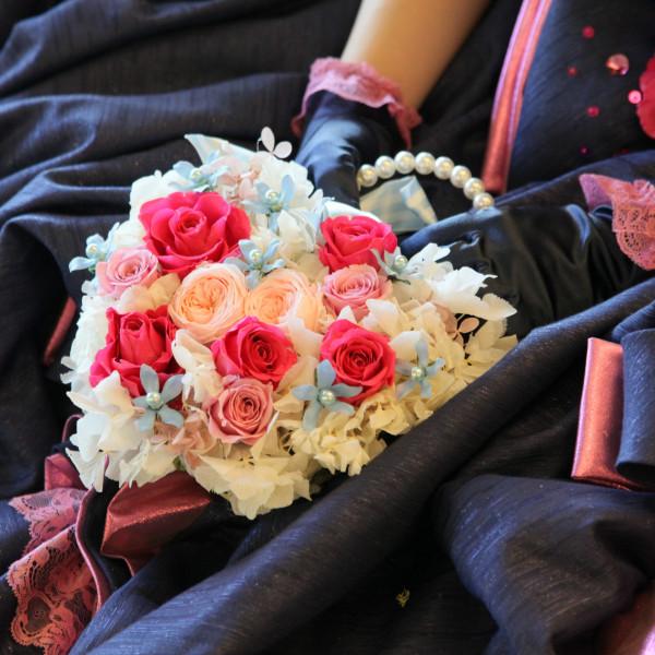 カラードレス用ブーケ プリザーブドフラワー(ハートバッグ)