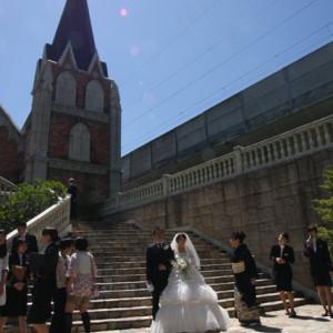 教会前で記念撮影 場所的には晴れていれば最高|338845さんの上田玉姫殿の写真(20597)
