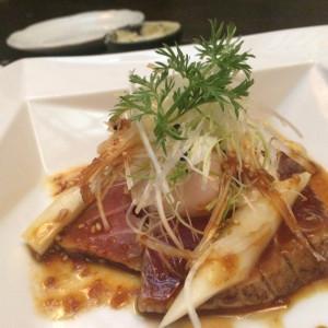 試食で頂いた鉢マグロのたたき。前菜です。 406437さんの藤右ェ門の写真(243104)