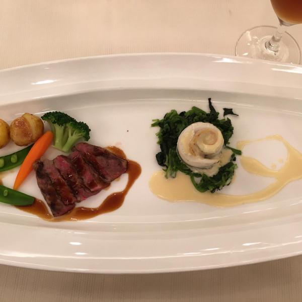 細魚とベーコンのロール白ワインソース