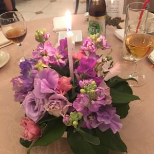 テーブル装花。キャンドル付き。|455924さんのローザフェリーチェの写真(417688)