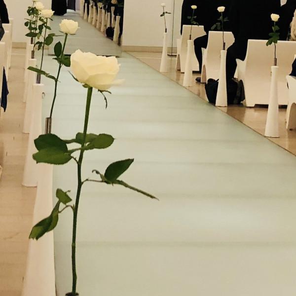 バージンロードと白いバラ