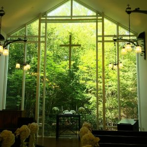 ガラス越しに見える緑が綺麗です。|487012さんのホテル軽井沢エレガンス 「森のチャペル軽井沢礼拝堂」の写真(550417)