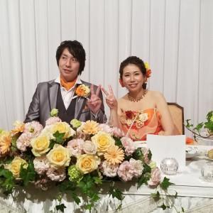 ドレスの色に合わせて、オレンジや黄色、緑のお花にしました♪|501472さんのホテル熊本テルサの写真(622835)