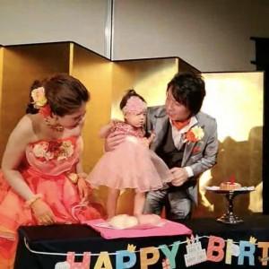 娘の1歳の誕生日で、ケーキや餅踏みをしました♪持込無料です。|501472さんのホテル熊本テルサの写真(622837)