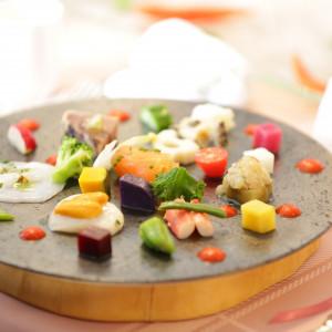 前菜の一品。高原野菜と魚介です。|518560さんの星野リゾート リゾナーレ八ヶ岳の写真(699588)