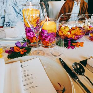披露宴テーブの花です。|522288さんのザ・リッツ・カールトン沖縄の写真(713935)