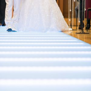 青白く光るバージンロードは、ドレスが映え、神秘的な雰囲気。|524040さんの銀座ブロッサムの写真(725506)