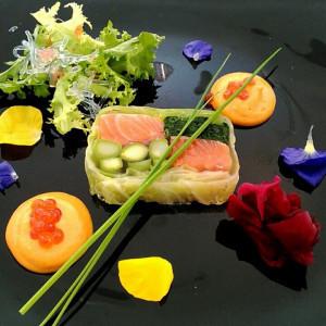 美雪ますと季節野菜のゼリー寄せ濃厚な海胆ソース|527209さんのあてま高原リゾート ベルナティオの写真(744471)