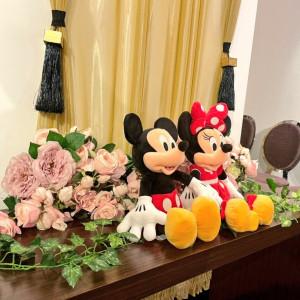 持ち込みのミッキーミニー。かわいく飾ってくれました。 575147さんのアルカンシエル横浜 luxemariage アルカンシエルグループの写真(1217856)